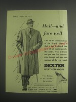 1953 Dexter Weatherproofs Ad - Hail - and fare well