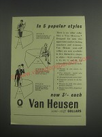 1953 Van Heusen Collars Ad -Style 11, 52 and 99 - In 5 popular styles