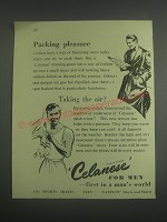 1953 Celanese for men Ad - Packing pleasure