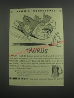 1953 Pimm's No.1 Ad - Pimm's horoscopes Taurus