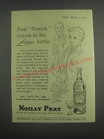 1953 Noilly Prat Vermouth Ad - Real French comes in the large bottle
