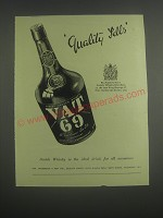 1953 Vat 69 Scotch Ad - Quality Sells