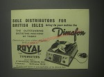 1953 Royal Typewriters Dimafon Dictation Machine Ad - Sole distributors