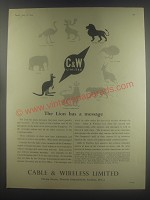1954 Cable & Wireless Limited Ad - The Lion has a message