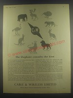 1954 Cable & Wireless Limited Ad - The Elephant consults the Lion