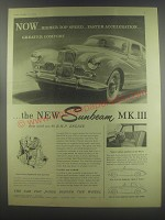 1954 Sunbeam MK III Car Ad - Now.. Higher top speed.. Faster acceleration..