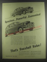1954 Vauxhall Velox and Wyvern Cars Ad - Spacious.. Powerful.. Economical