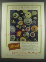 1954 Lucas Three Dimensional Translucent Mouldings Ad - Jewels of industry