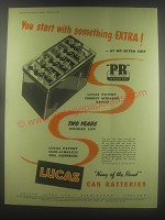 1954 Lucas Car Batteries Ad - You start with something extra