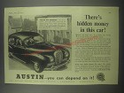 1954 Austin A40 Somerset Car Ad - There's hidden money in this car