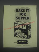 1952 Hormel Spam Ad - Bake it for supper
