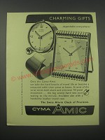 1954 Cyma-Amic Alarm Clocks Ad - Charming gifts dependable everywhere