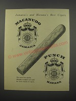 1954 Macanudo and Punch Cigars Ad - Jamaica's and Havana's Best Cigars