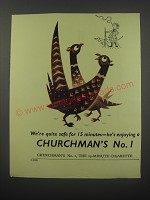 1954 Churchman's No. 1 Cigarettes Ad - We're quite safe for 15 minutes