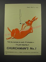 1954 Churchman's No. 1 Cigarettes Ad - Tell the tortoise to wait 15 minutes