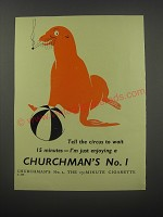 1954 Churchman's No. 1 Cigarettes Ad - Tell the circus to wait 15 minutes