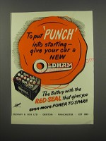 1954 Oldham Red Seal Battery Ad - To put punch into starting