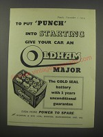 1954 Oldham Major Battery Ad - To put punch into starting give your car