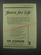 1954 The Standard Life Assurance Company Ad - Yours for life