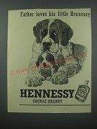1954 Hennessy Cognac Ad - Father loves his little Hennessy
