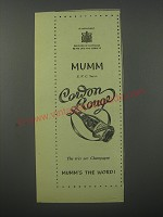 1954 Mumm Cordon Rouge Champagne Ad - The tres sec Champagne Mumm's the word