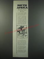 1930 South African Government Bureau Ad - South Africa the travel land de luxe