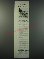 1930 Matson Line Cruises Ad - Around the pacific Geisha Girls Dance for you