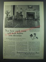 1930 Armstrong's Linoleum Floors Ad - See how each room will look before you