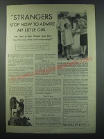 1930 Ovaltine Drink Ad - Strangers stop now to admire my little girl