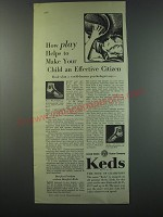 1930 Keds Big Leaguer and Attaboy Shoes Ad - How play helps to make your child