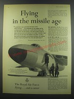 1957 Royal Air Force Ad - Flying in the missile age