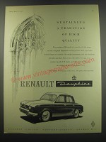 1957 Renault Dauphine Ad - Sustaining a tradition of high quality