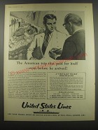 1957 United States Lines Ad - The American trip that paid for itself