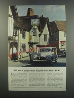 1957 British Travel Association Ad - Bed and a gargantuan English Breakfast