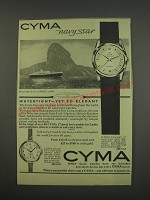 1957 Cyma Navystar and 123/125 Watches Ad - Cyma Navystar Watertight