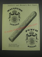1957 Macanudo and Punch Cigars Ad - Jamaica's and Havana's Best Cigars