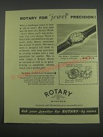 1955 Rotary Excellency Watch Ad - Rotary for jewel precision