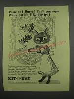 1955 Kit-E-Kat Cat Food Ad - Come on! Hurry! Can't you see