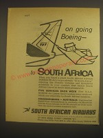 1962 South African Airways Ad - On going Boeing - to South Africa