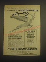 1962 South African Airways Ad - Air comfort to South Africa