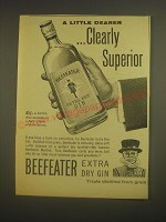 1962 Beefeater Extra Dry Gin Ad - A little Dearer .. Clearly Superior