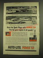 1958 Auto-Lite Spark Plugs Ad - with Power Tip Fire Up Your Engine