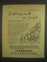 1958 Liverpool England Ad - Swift longe vessell in Liv'pole