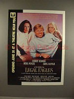 1986 Legal Eagles Movie Ad - Robert Redford, Debra Winger