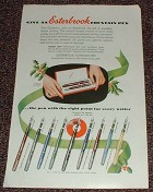 1952 Esterbrook Fountain Pen Ad, Standard Slender Purse