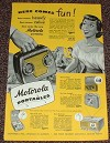 1949 Motorola Portable Radio Ad, Here Comes Fun!