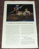 1949 Travelers Insurance Ad, Riverbanks Shouted Warning