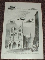 1948 Air France Ad, Notre Dame - Enter France!!