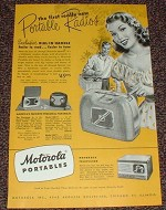 1948 Motorola Portable Radio Ad, Sporter, Playmate Jr!