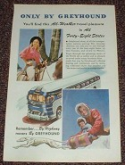 1947 Greyhound Bus Ad, All-Weather Travel Pleasure!!